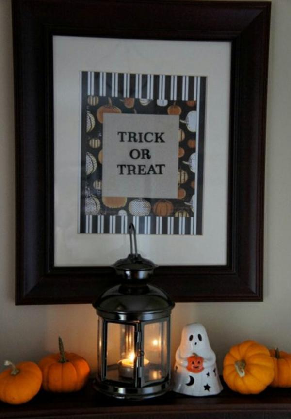 Halloween Deko Ideen bilderrahmen schwarz