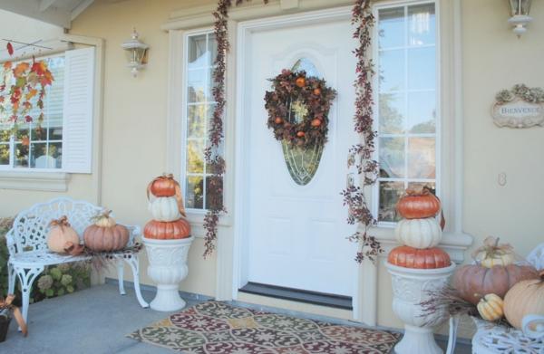 Halloween Ideen eingangstür kranz