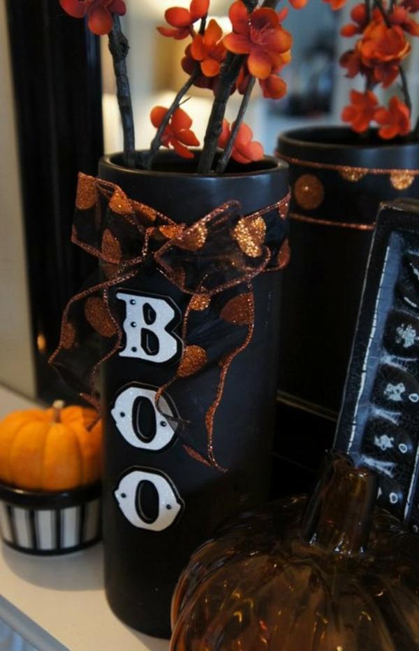 ... dekoration basteln : Halloween orange blüten Deko Ideen festlich toll