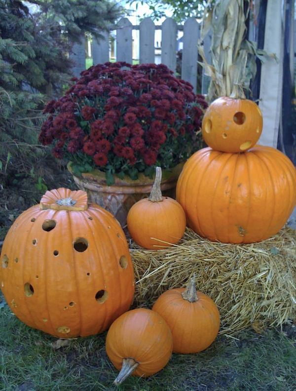 Halloween Deko basteln üppig blumenstrauß Ideen kürbisse schick