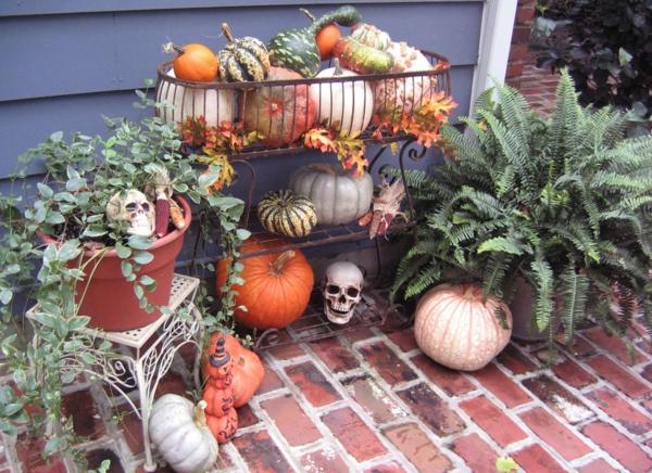 Halloween Deko basteln Ideen kleine kürbisse