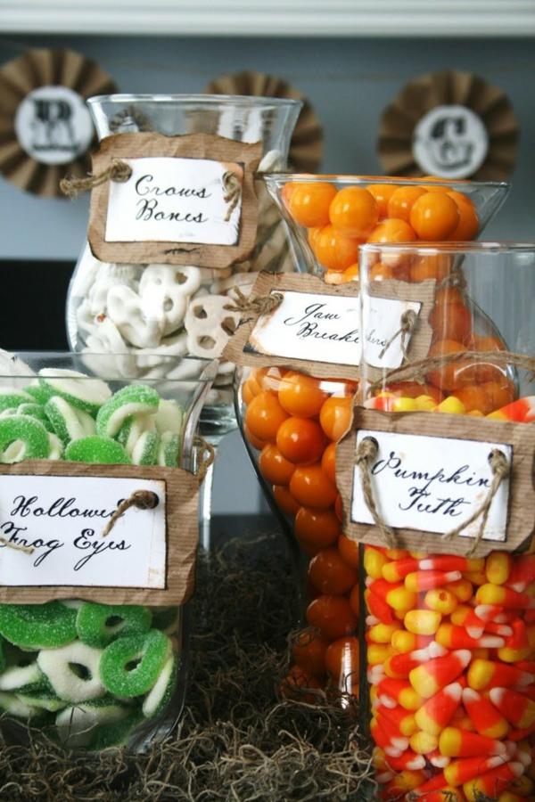 Halloween Ideen süßigkeiten orange grün