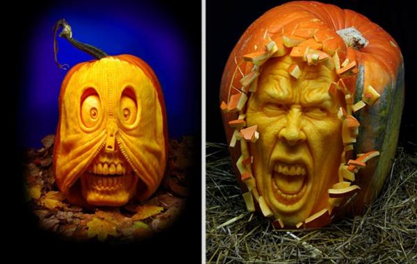 Halloween Kürbis schnitzen art gefühle