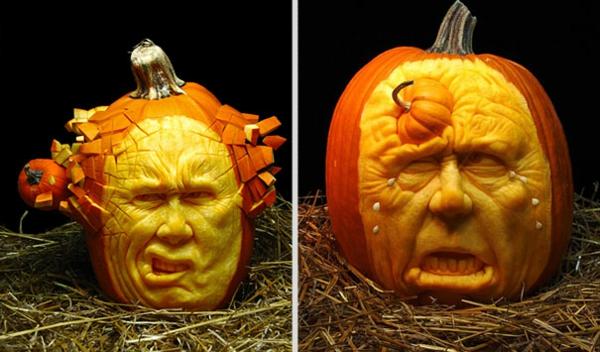 Halloween Kürbis schnitzen art originell