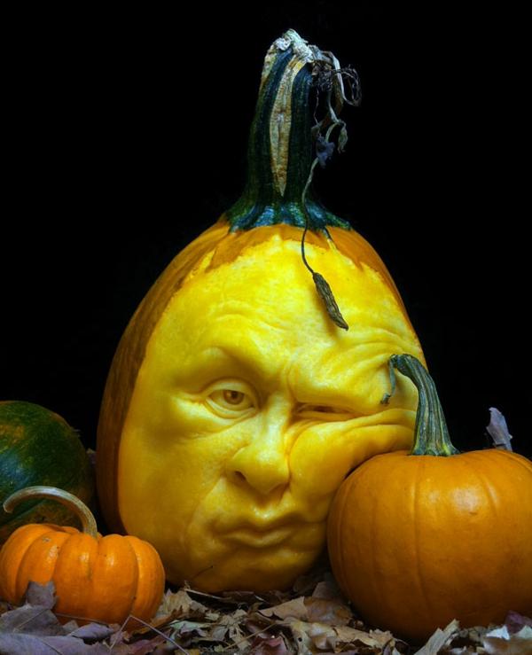 Halloween gelangweilt Kürbis schnitzen art schlafen