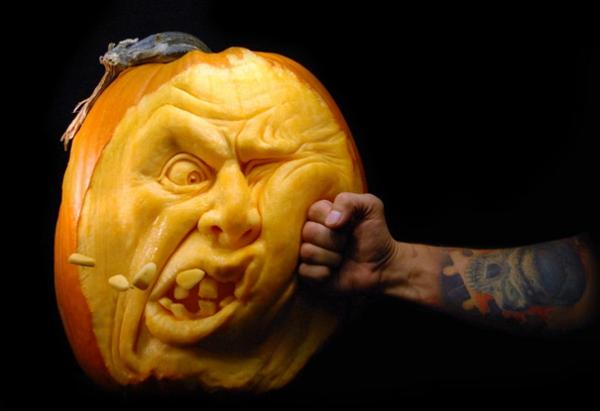Halloween Kürbis schnitzen art schlag