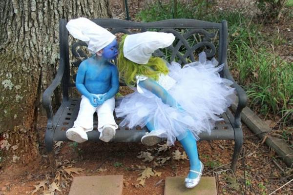 Halloween schlümpfe Kinderkostüme designs festlich blau smurf