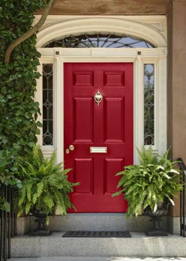 Hausanstrich Farbe rot hausfassade farbe farbideen haustür rot streichen