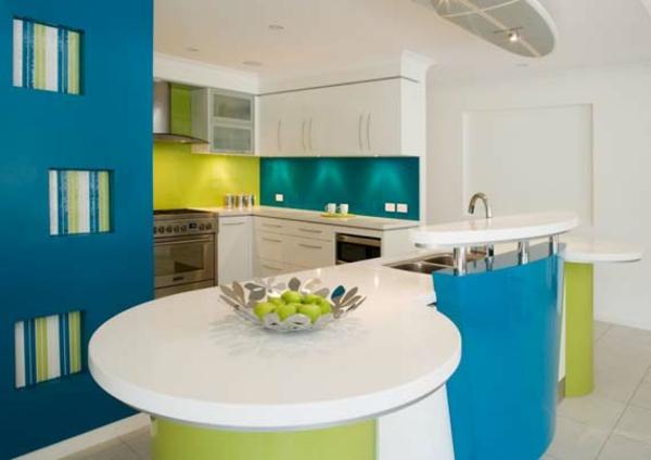 Küchenzubehör rund blau oberflächen Küchengeräte rund tischplatte