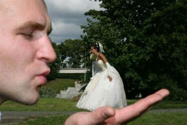 Lustige design Hochzeitsfotos Ideen visuell täuschung