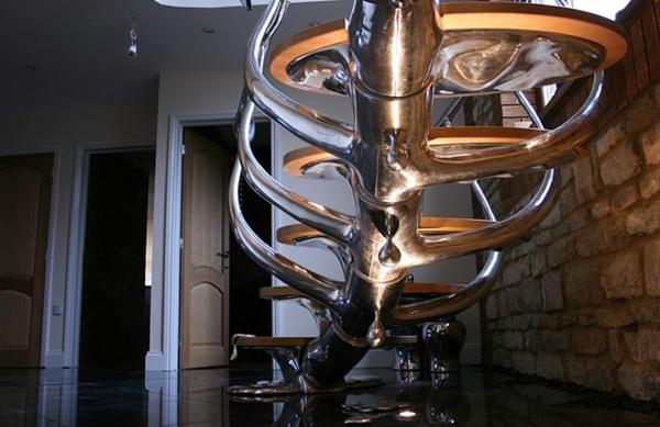 Moderne Innentreppen aus Holz Stahl geländer