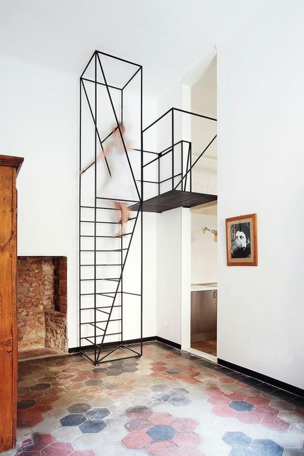 contemporary Innentreppen aus Holz Stahl klug