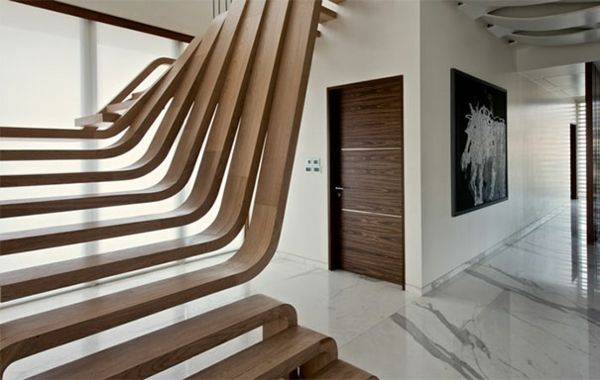 Moderne Innentreppen aus Holz Stahl originell