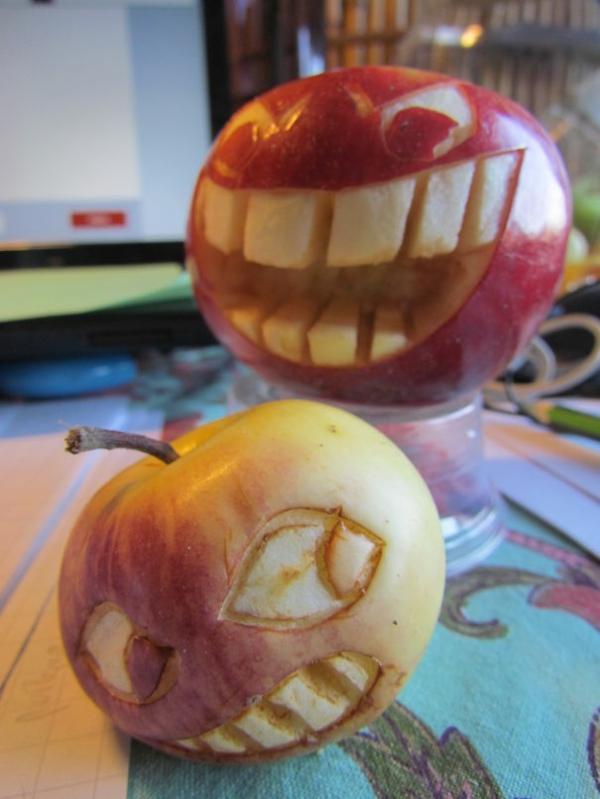 Obst dekorativ schnitzen apfel kunst gesichter