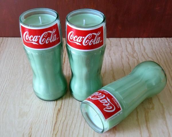 Recycelte Glasflaschen trinken coke kerzen
