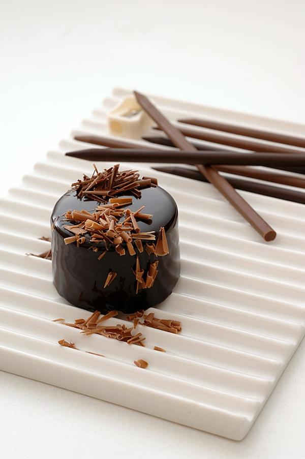 Schokoladen kunstvoll ideen design bleistifte