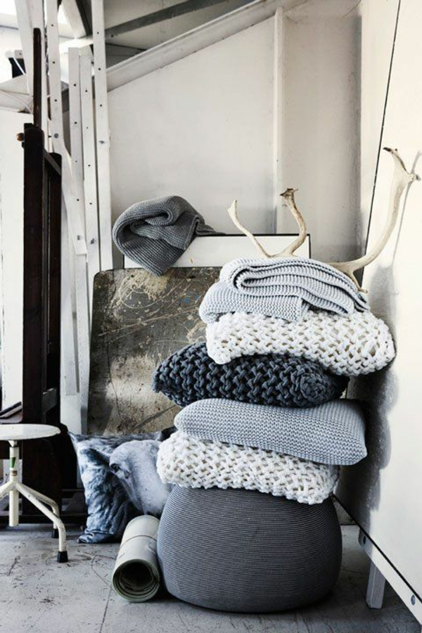 Strickwaren Deko gestrick kissen textilien