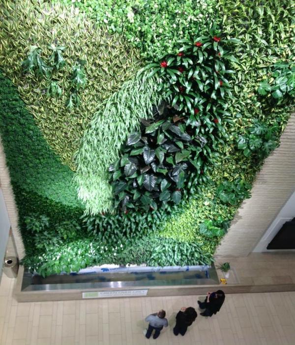 Wanddeko laub grün Pflanzen beleuchtung lampen