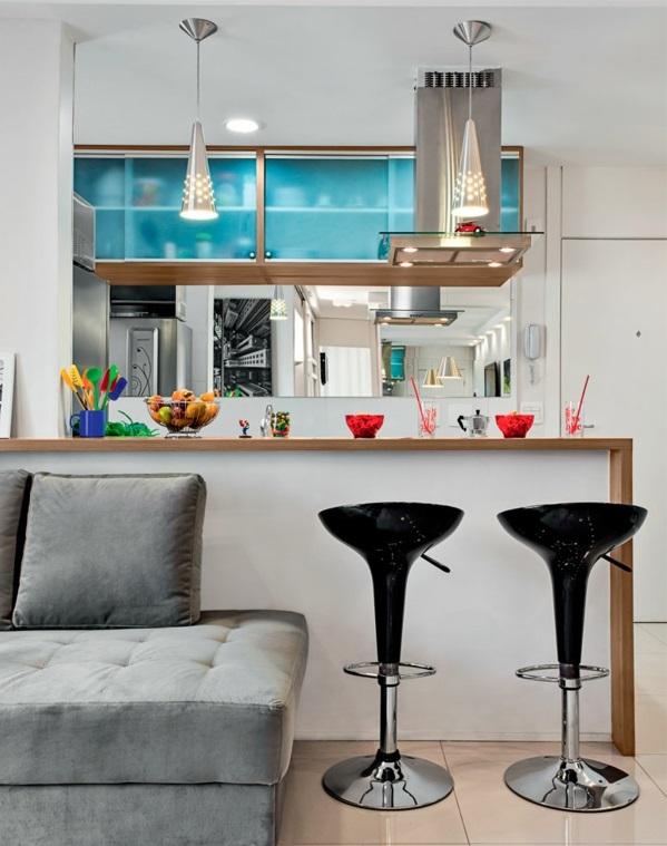 Wohnzimmergestaltung Ideen modern sofa barhocker glanz