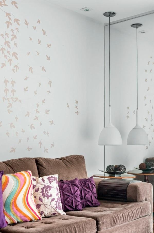 Wohnzimmergestaltung Ideen modern sofa kissen stoff