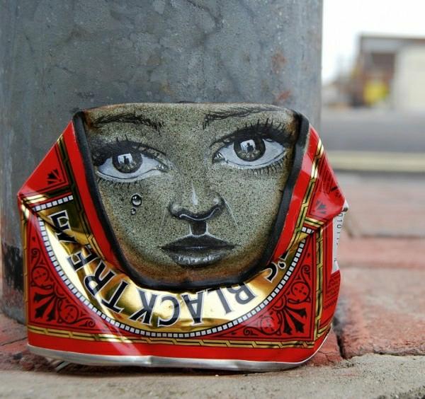 art deko metalldose gesicht tränen