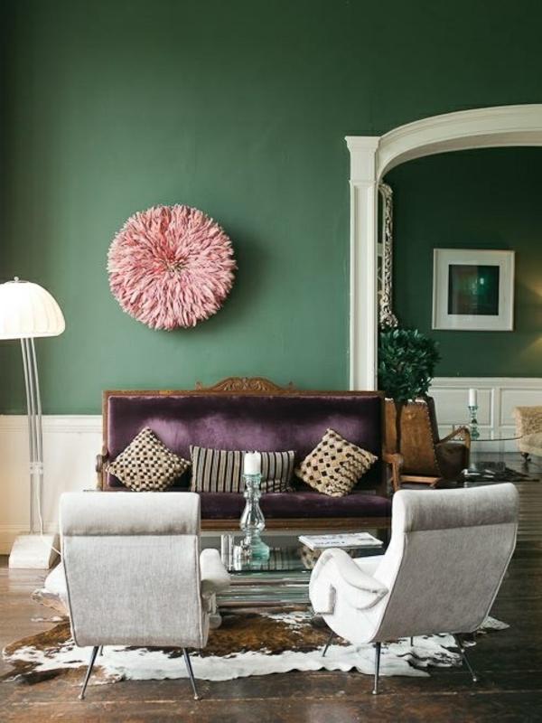 attraktives wohnzimmer grüne wandfarbe