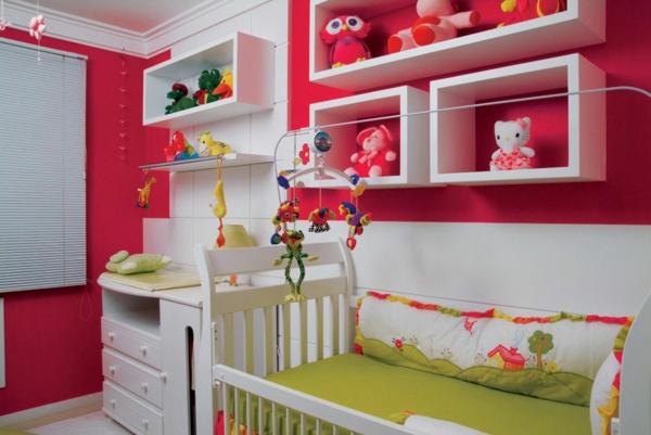 babyzimmer einrichten möbel babymöbel rot wand