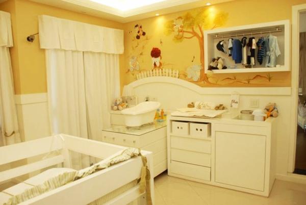 babyzimmer bäume wand tattoo einrichten möbel babymöbel sideboard