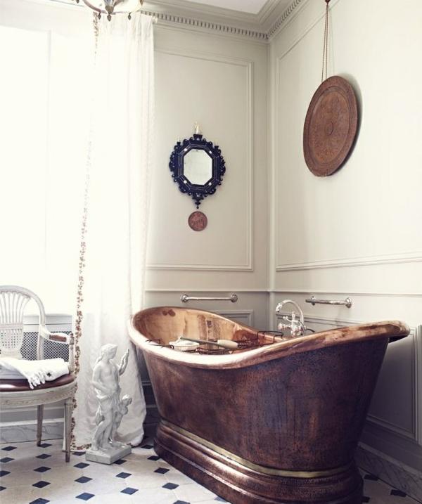badezimmer einrichtungsideen badewanne aus bronze