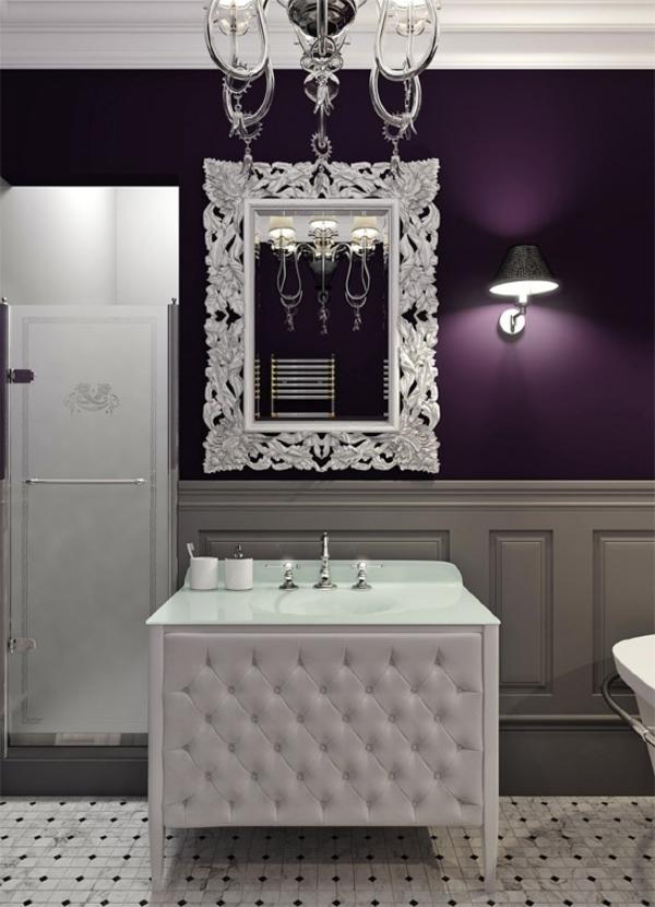 badezimmer wandgestaltung in violett