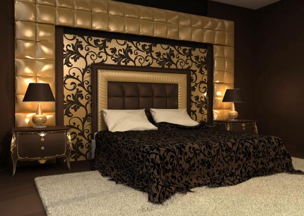 Schwarze Tapete Schlafzimmer : Die Schlafzimmerwand goldig polstern lassen