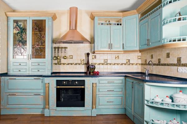 Blau Goldene Farben Für Die Kücheneinrichtung Wunderschöne Küchengestaltung  Im Landhausstil ...