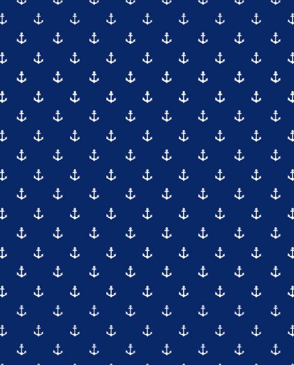 blaue tapete tapetenmuster anker maririmer einrichtungsstil