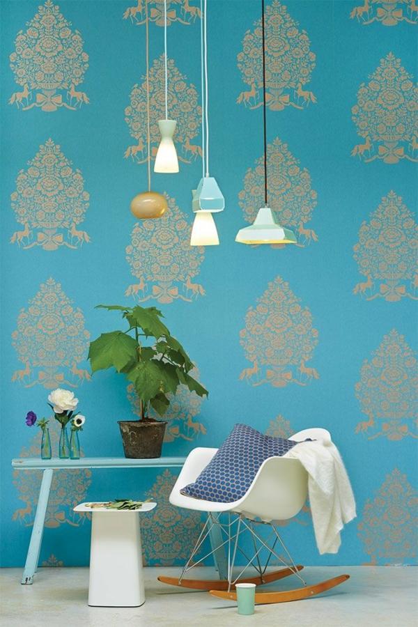 blaue wandtapeten tapetenmuster wanddeko ideen