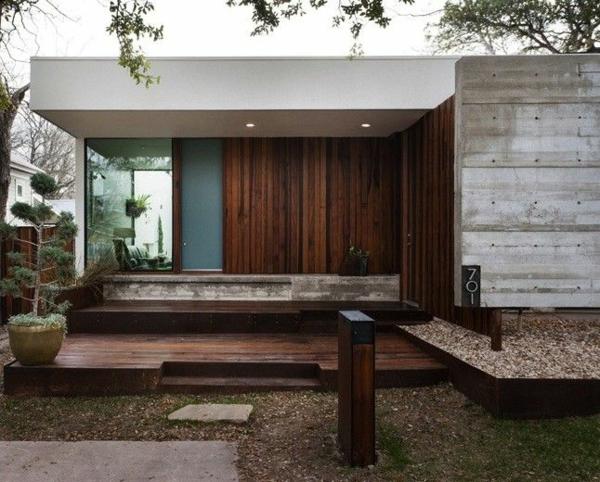 die fassade hausfassade holzbalken betonpaneele eingangsbereich holzpforte
