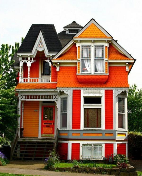 die fassade hausfassaden farben orange warme farbgestaltung