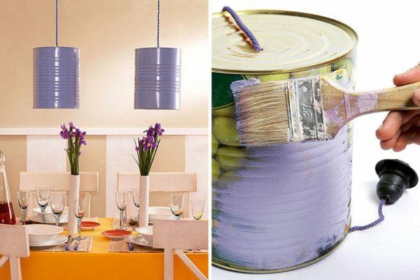 diy laternen tischlampen DIY Leuchten aus Dosen bemalen