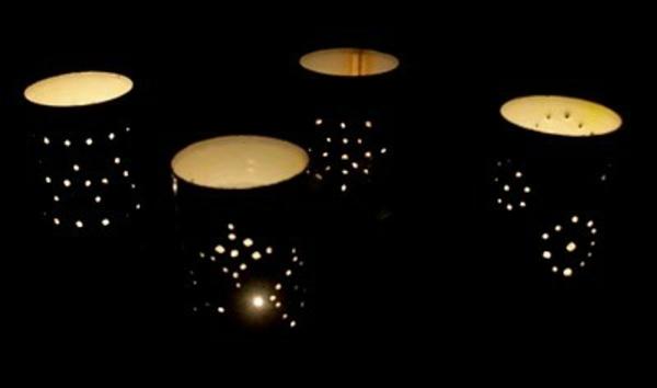 effektvoll leuchten laternen tischlampen dosen dunkel