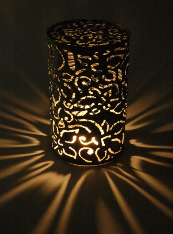 laternen tischlampen DIY Leuchten aus Dosen nachts