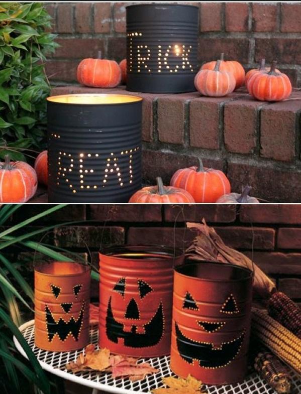 halloween laternen tischlampen DIY Leuchten aus Dosen orange