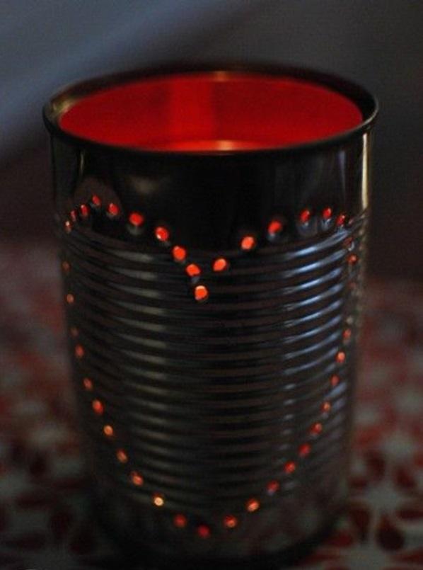 laterne  tischlampen DIY Leuchten aus Dosen rot