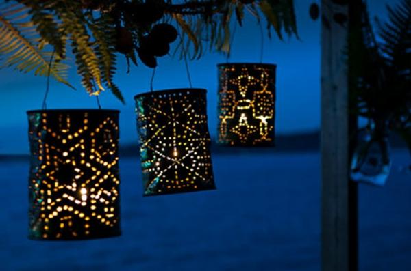 diy leuchten laternen tischlampen dosen veranda