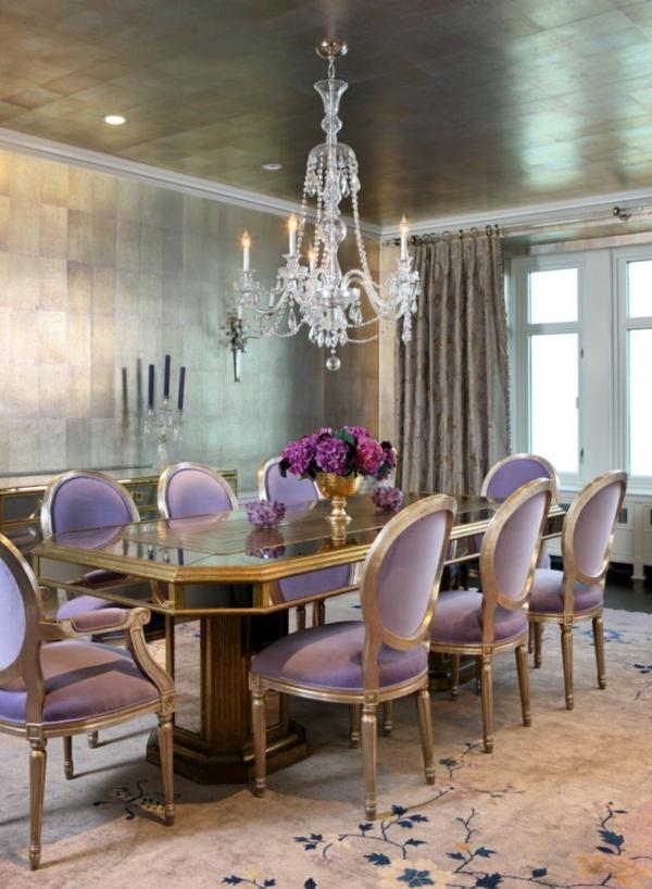 schöne wohnzimmer decken:elegantes esszimmer einrichten decke wandgestaltung metallic