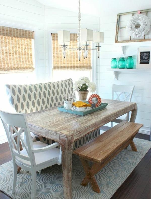 esszimmer gestalten speisezimmer möbel günstig holztisch holzbank sofa