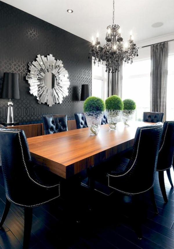 Schwarze Tapete Schlafzimmer : Peppen Sie den Essbereich mit einer schwarzen Tapetenwand auf