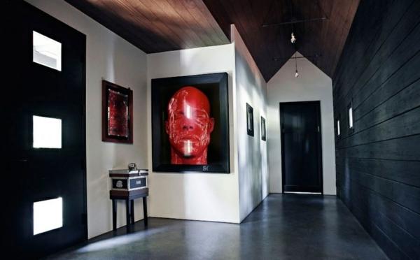 flur gestalten eingangsbereich wandgestaltung modernekunst schwarz weiß