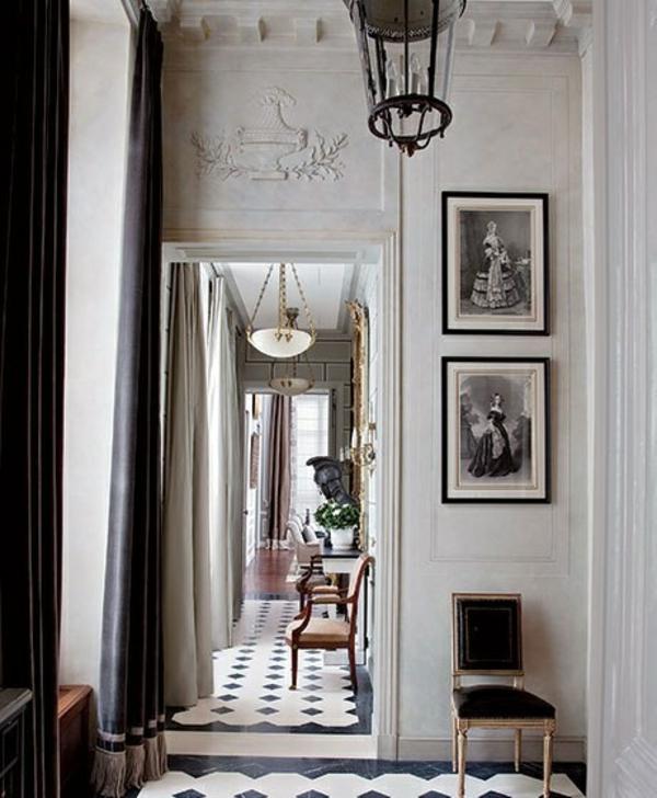 flur gestalten schwarz weiß eingangsbereich antik möbel bodenfliesen 20er stil