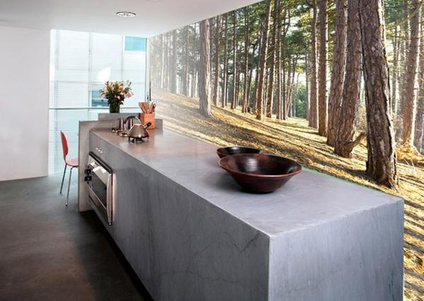fototapete küche wandgestaltung waldmotive