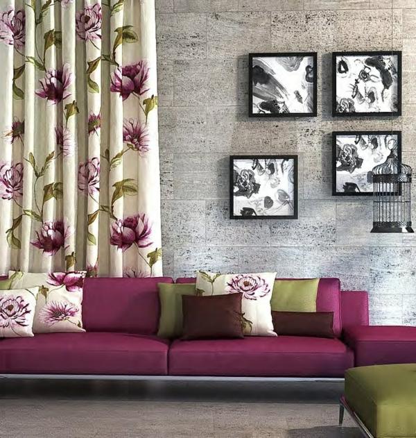 gardinen mit floralen elementen wohnzimmer