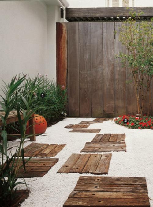 Jardim Quintal Cimentado : Jardim Quintal Cimentado:gartenideen Gartenweg  Gestalten Gartengestaltung Mit Kies Holzfliesen